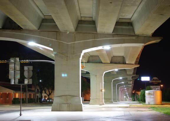 Bridge underpass lit with LED lamps